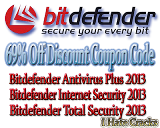 69% Off Discount Coupon Code For Bitdefender Antivirus Plus 2013, Bitdefender Internet Security 2013 and Bitdefender Total Security 2013